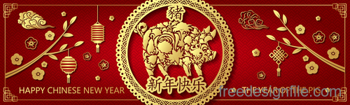 Happy chinese new year 2019 banners vector 02