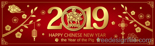 Happy chinese new year 2019 banners vector 03
