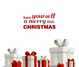 Happy christmas gift card with white background vector 01