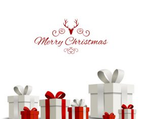 Happy christmas gift card with white background vector 02