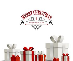 Happy christmas gift card with white background vector 03