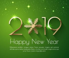 Happy new year 2019 green background vector
