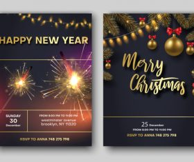 Happy new year with christmas party flyer with poster template vector 02