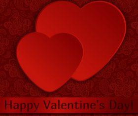 Happy valentine day card dark red styles vector
