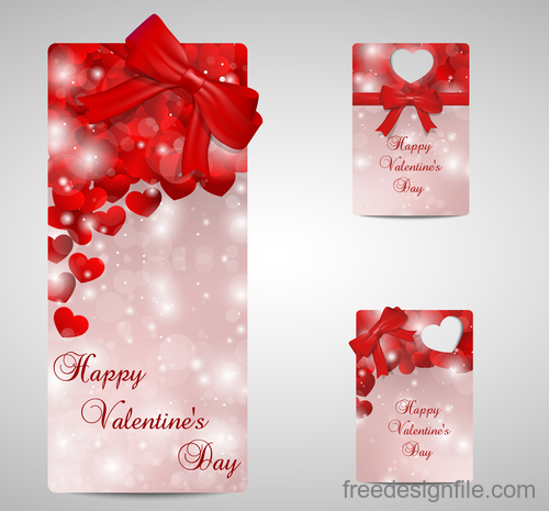 Happy valentine day card template with red bows vector