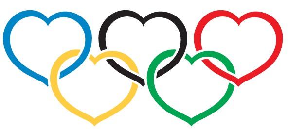 Heart Olympics symbol vector set
