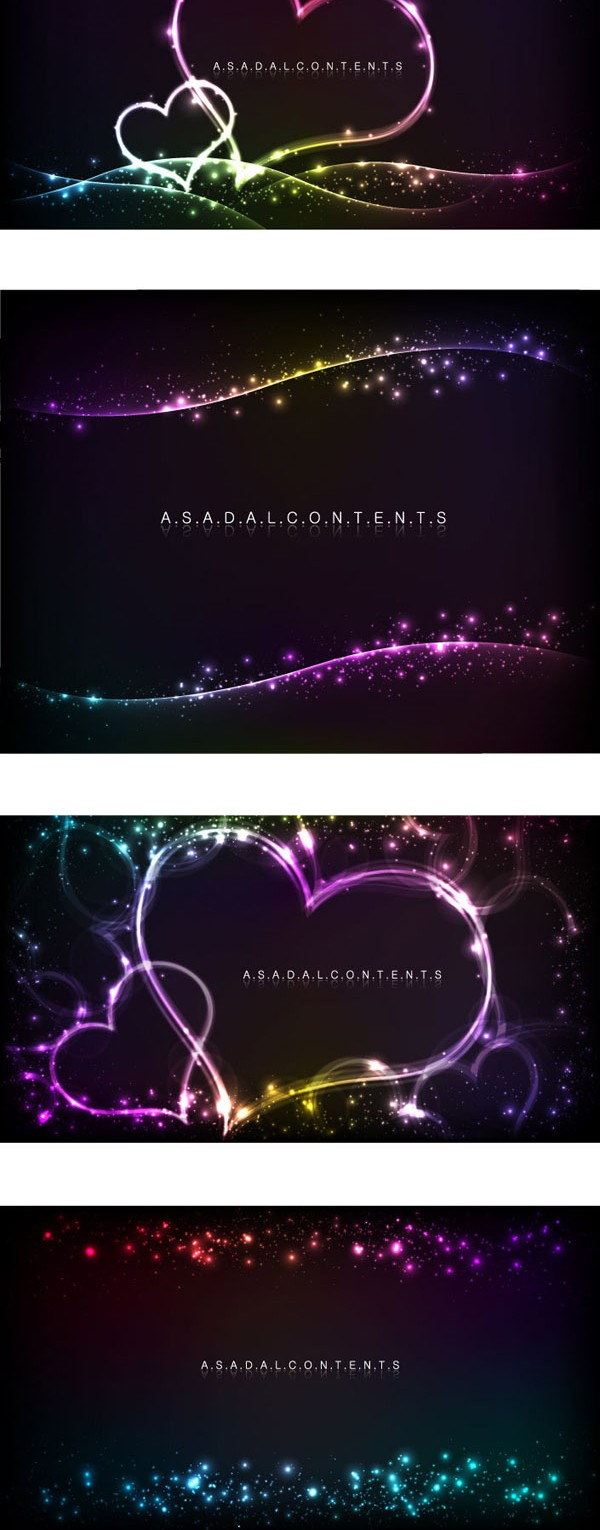 Heart shaped neon light effect background vector graphics