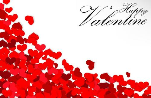 Heart shaped petals with valentine day card vector 01