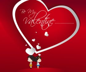 Heart valentine day card with kids vectors