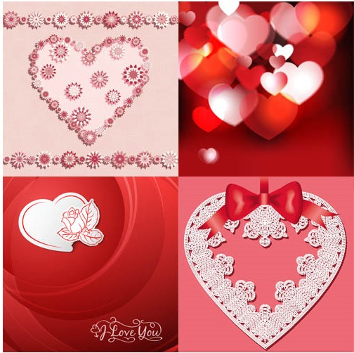 Hearts Backgrounds Set 5 vector