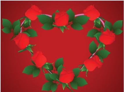 Heartshaped rose border clip art Free design vector