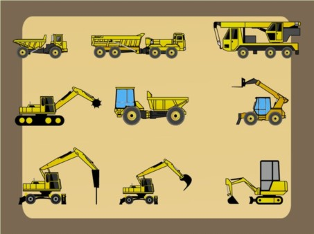 Heavy Construction Vehicles vector design