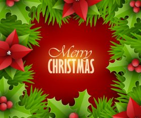 Holly and green leaves christmas frame vector