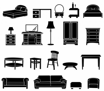 Home Furniture black and white icon vector