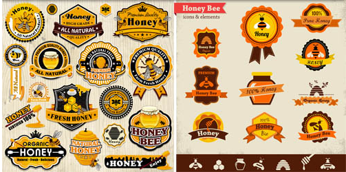 Honey Labels shiny vector