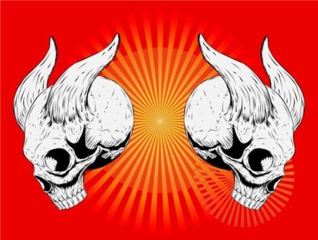 Horned Skulls vector