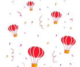 Hot air balloon ribbon paper vector