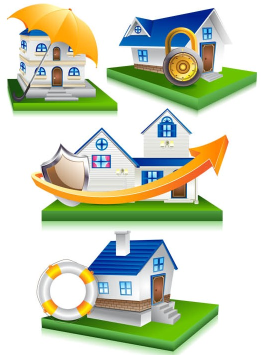 House Security Icons design vectors