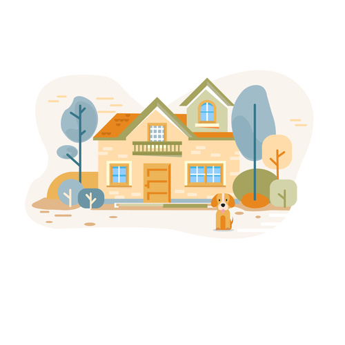 House puppy hand drawn vector