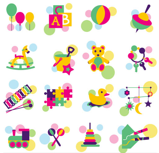 Icons with Childrens Toys vector