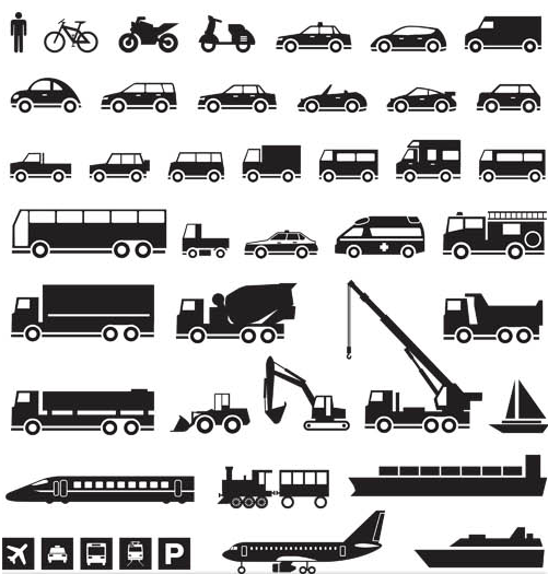 Icons with Transport set vector