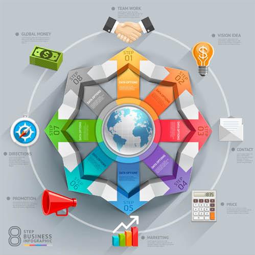 Infographics Backgrounds 45 vector