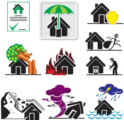 Insurance Symbols vectors material