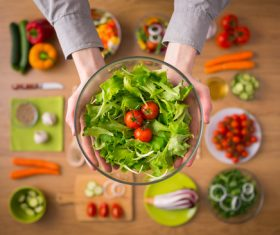 Introducing vegetable salad Stock Photo