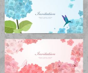 Invitation card with hydrangea vector
