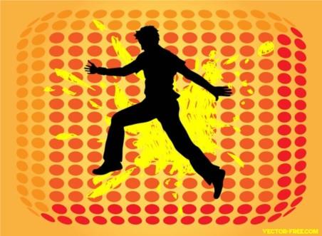Jumping Man Silhouette vectors