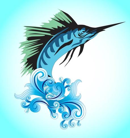 Jumping Marlin Fish vectors material