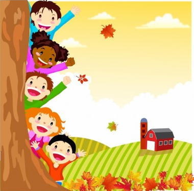 Kids Hiding Behind Autumn Tree vector