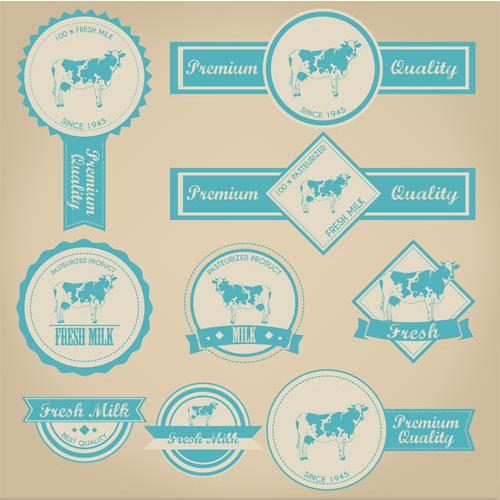 Labels for Milk vector