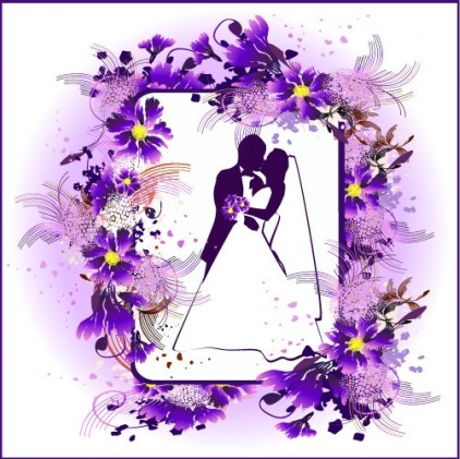 Lace wedding theme set vector