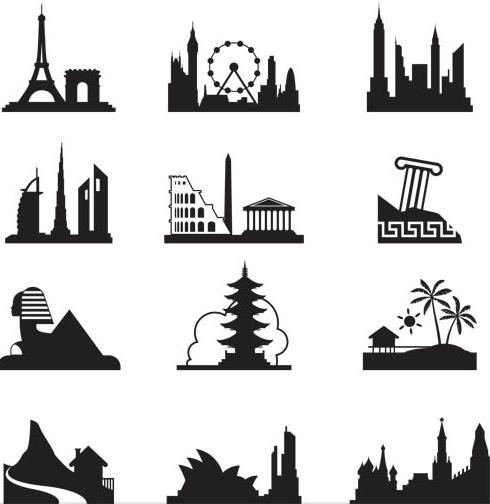 Landmarks Silhouettes design vector