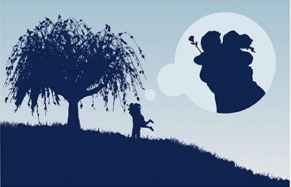 Large trees couple silhouette vectors