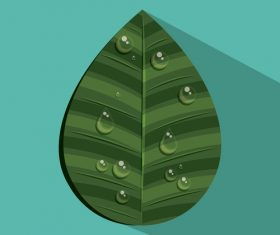 Leaves and dewdrop illustration vector 02