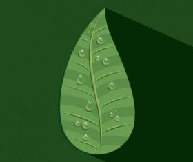 Leaves and dewdrop illustration vector 04