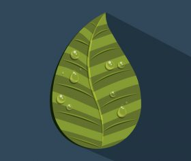 Leaves and dewdrop illustration vector 06