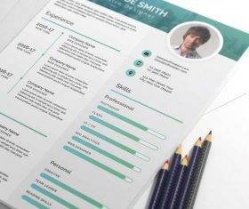 Light Green Styles Resume PSD Template
