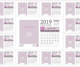 Light color 2019 calendar template with photo frame vector