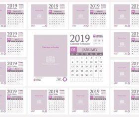 Light color 2019 calendar template with photo frame vector