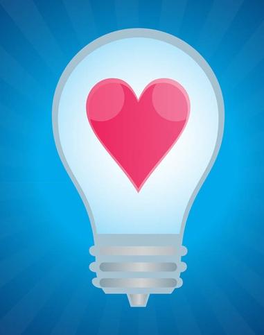 Lightbulb With Heart vector