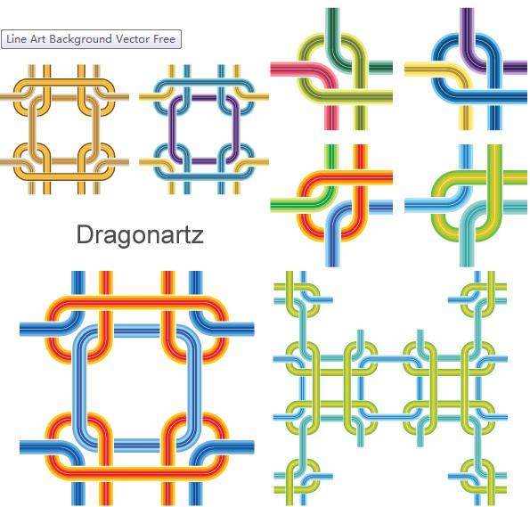 Line Art Background set vector