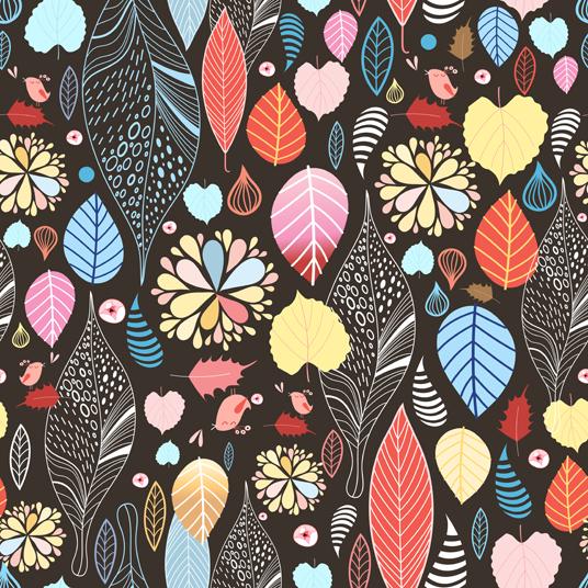 Line autumn pattern background 3 vectors