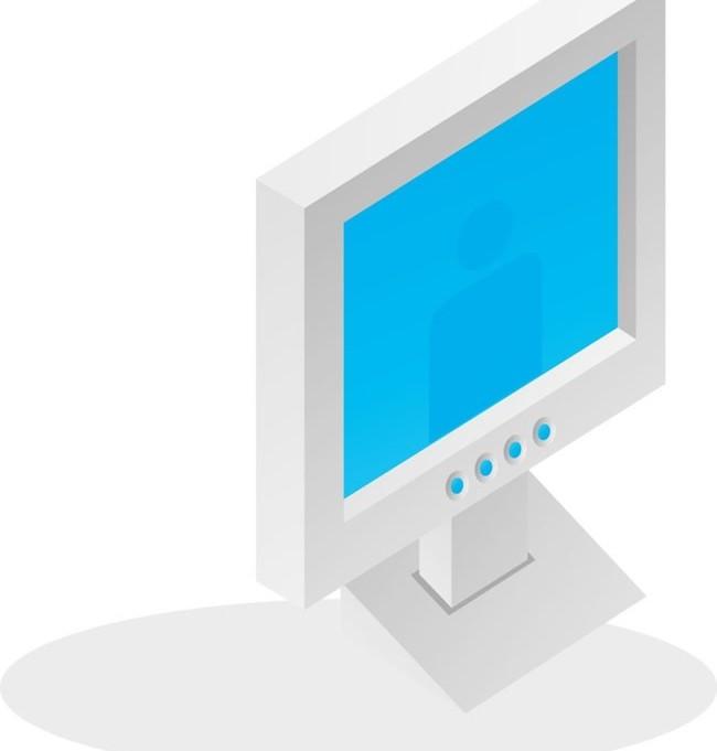 Liquid crystal display, IT office supplies vector