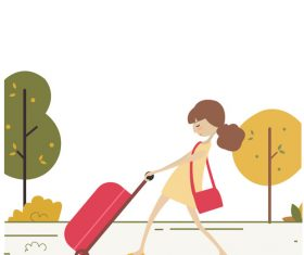 Little girl dragging suitcase tourist hand drawn vector