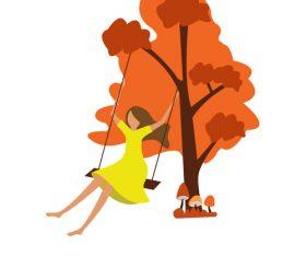 Little girl swinging under the tree vector