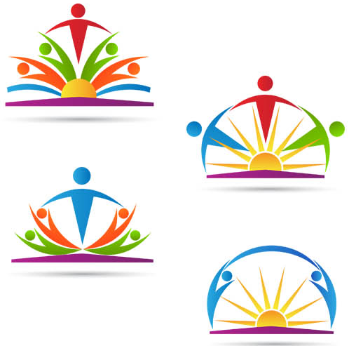 Logo with People 3 set vector