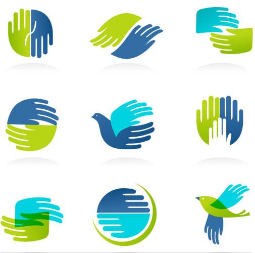 Logotypes with Hands design vectors